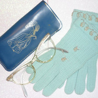 1950's Little Girl's  Beaded Gloves And Cat Eye Rhinestone  Glasses with  Leather Case