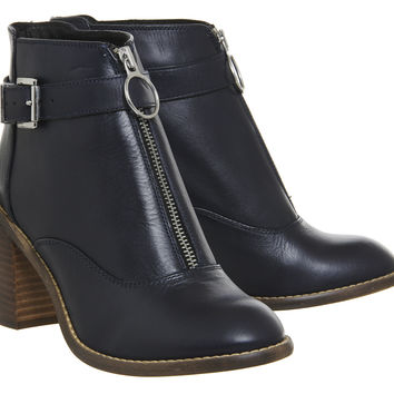 Office Lottie Front Zip Smart Boots Navy Leather - Ankle Boots