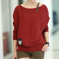 Red Bat Loose Long Sleeve Sweater