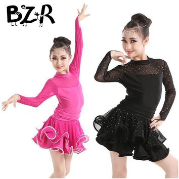 Bazzery 2018 New Professional Ballet Dress for Girls Long Sleeve Ballet Dance Skirt Children Stage Perform Dancing Clothes Tutus
