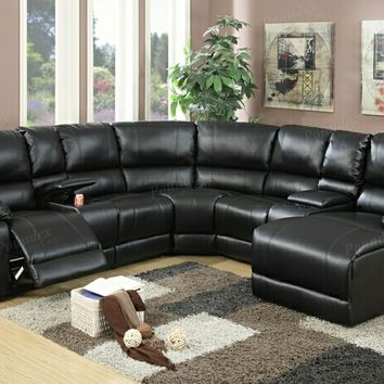 5 pc Collette collection black bonded leather upholstered sectional sofa with chaise and recliners