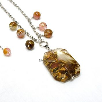 Fire Cherry Quartz, volcano quartz gemstone necklace, natural stone jewelry, Spring fashion