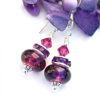 Purple Fuchsia Pink Ruby Earrings, Lampwork Swarovski Handmade Jewelry