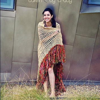 Native American Southwest Blanket Afghan Throw Can Wrap Around Shoulders Like Tribal Desert Poncho