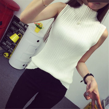 2016 autumn turtleneck tanks women sleeveless top crop female stand collar elastic force vest female pull femme sexy top