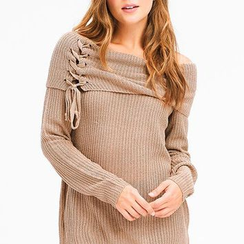 All In The Details Off Shoulder Lace Up Sweater