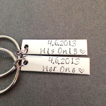 His Hers Keychains for Couples, Her one His Only Key chain, Stocking Stuffer Christmas Gift, Date Keychains, Anniversary Keychains Gift Idea