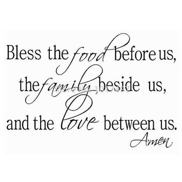 Bless The Food Family Love Religious Dining Room Vinyl Wall Deca