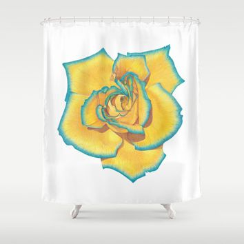 Yellow and Turquoise Rose Shower Curtain by drawingsbylam