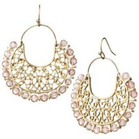 Gold Linear Earrings - Coral