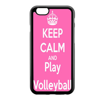 Keep Calm Play On Volleyball Pink iPhone 6 Case