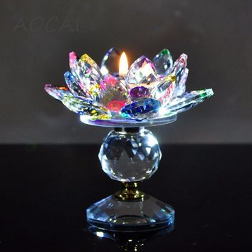 Crystal Glass Lotus Flower Candle Holders centerpieces Candlestick