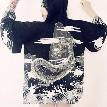 "Vintage Japanese Harajuku Style ""Waves and Wind Dragon"" Print Kimono Chiffon Cardigan"