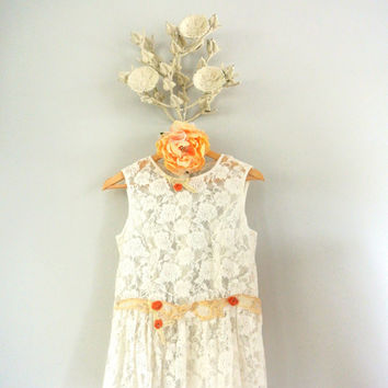 Country chic lace shirt, spring easter shabby top, ruffle, french cottage chic, romantic summer lace tank, true rebel clothing