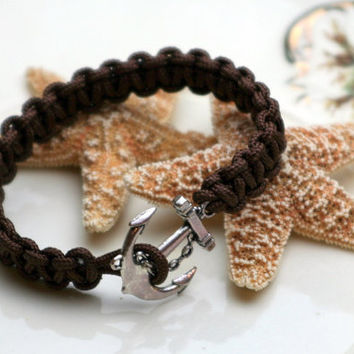 Anchor Bracelet Brown Square Knot Cuff Style