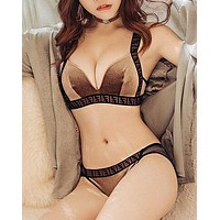 FENDI Hot Sale Retro F Letter Two Piece Women Underwear Set Coffee
