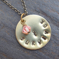 Brass Breast Cancer Survivor Pendant Necklace