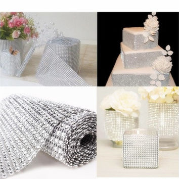 Diamond Mesh Wrap Roll Sparkle Rhinestone Crystal Ribbon for Wedding Decoration(Size: 1 yard (L)) [7983551751]