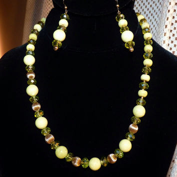 Lemon Jade and Peridot Crystal Gold Filled Necklace and Earring Set