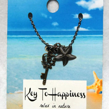 Keys To Happiness Necklace - Relax in Nature, Key Charm, Key Necklace, Antique Key,Skeleton Key, Stocking Stuffer,Party Favor,Wedding Favor