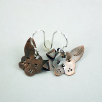 Copper Dog Earring - Puppy Jewelry - Canine Earrings - Floppy Ear Dog - Pet Lover Gift -  Women and Children