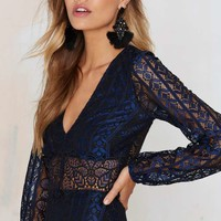 For Love & Lemons Blue in the Lace Crop Top