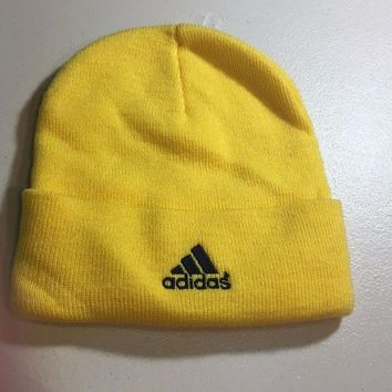 CUPUPI8 BRAND NEW ADIDAS YOUTH YELLOW KNIT HAT SHIPPING