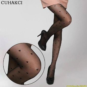 Free Shippig High Quality All-match Peach Love Heart Sexy Transparent Pantyhose Black Stockings Fashion Women's Tights