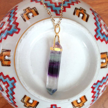 Fluorite Point Necklace - Gold Filled Satellite Chain