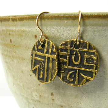 Boho Tribal Gold Earrings - Gold Coin Earrings Ethnic Metal Jewelry