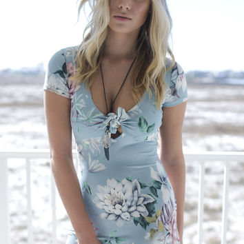 Feeling Alive Dusty Blue Floral Knot Dress