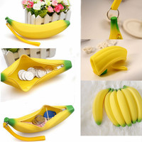 1 X Kawaii Unisex Men Women Girls Novelty Silicone Portable Banana Coin Pencil Pen Case Purse Bag Case Wallet Pouch Keyring