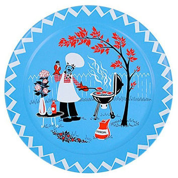 Barbecue Cookout Vintage Style Clipart Tin Food Serving Tray 18 in.