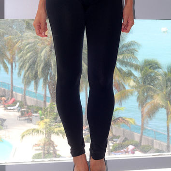 Solid Black Stretch Leggings