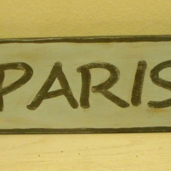 Light Blue Hand Painted Wood Paris Sign