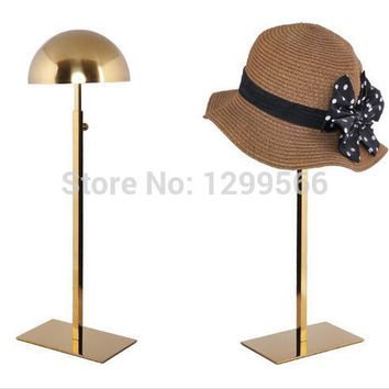 Fashion Titanium gold Stainless Steel Hat display rack cap showing stand adjustable metal wig hat display holder rack