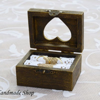 Wedding Ring Box, Ring Bearer , Rustic Ring Pillow, Vintage style
