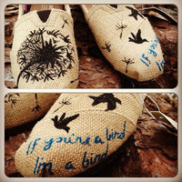dandelion hand painted TOMS with birds (made to order)