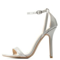 Lt Gray Single Sole Ankle Strap Heels by Charlotte Russe