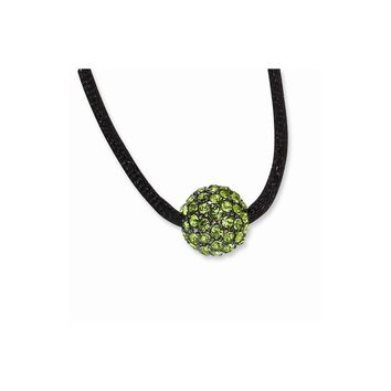Black-plated Green Crystal Fireball on 16in w/ext Satin Cord Necklace