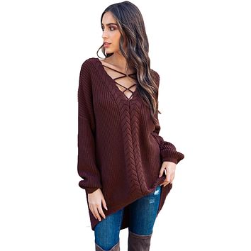 Wine Crisscross Oversize Sweater