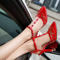 2015 women's red high-heeled shoes sexy thin heels sandals hole japanned leather pointed toe high heel sandals