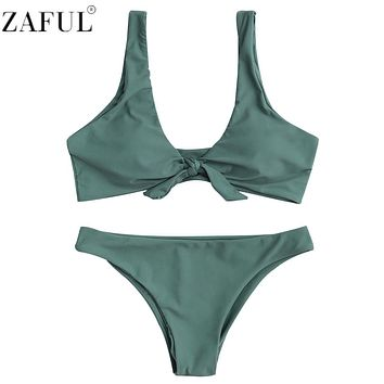 Zaful 2017 bikini Women Swimsuit New Pure Color Bikini Set Padding Vest Bikini Knotted Scoop Neck Low Wait Bandage Swimwear