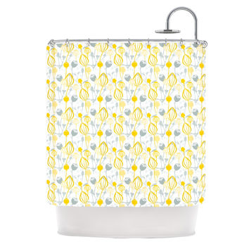 "Julie Hamilton ""Willow Wisp"" Yellow Gray Shower Curtain"