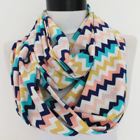 zig zag scarf,infinity scarf, scarf, scarves, long scarf, loop scarf, gift
