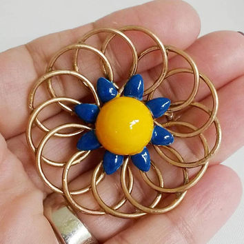 ReVamped Colorful Geometric Brass Pin Colorful Geometric Spiral Brooch