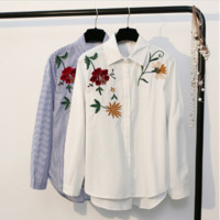 Flowers embroidered shirt spring fashion women lapel shirt top