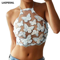 Women Butterfly Embroidery Lace See-through Crop Top Sexy Summer Sleeveless Tee Shirts