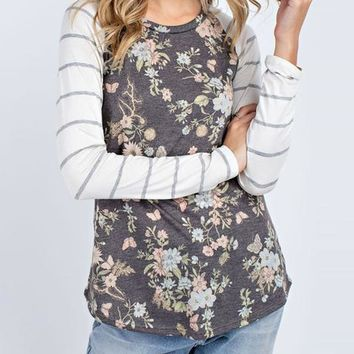 Long Sleeve Floral Striped Top