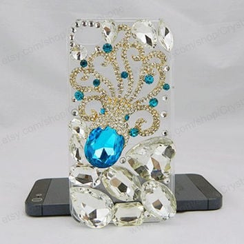Blue Crystal  Octopus iPhone case,bling iphone 6 case,Crystal iphone 6 Plus,Rhinestone iphone 5/5S/5c,iphone 4 case samsung galaxy S3/S4/S5